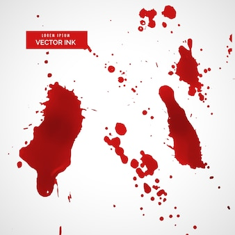 Czerwony splatter atramentu lub zestaw tekstur plamy krwi