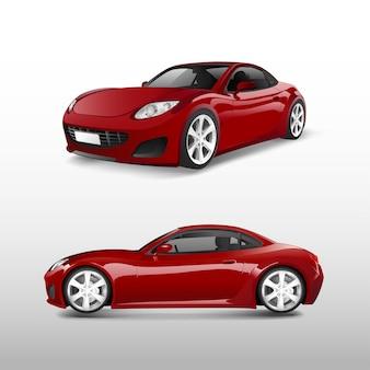 Czerwony sporta samochód odizolowywający na białym wektorze