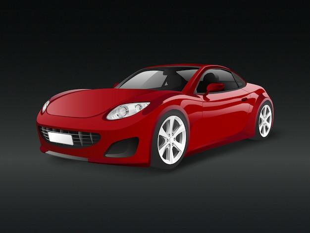 Czerwony sporta samochód w czarnym tło wektorze