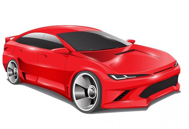 Czerwony sportowego samochodu sedanu 3d projekt na odosobnionym tle.