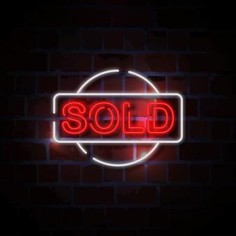 Czerwony sprzedawany neon ilustracja
