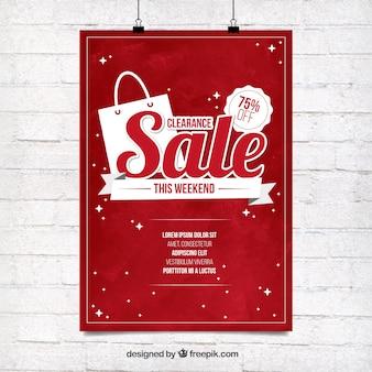 Czerwony sprzedaży plakat szablon