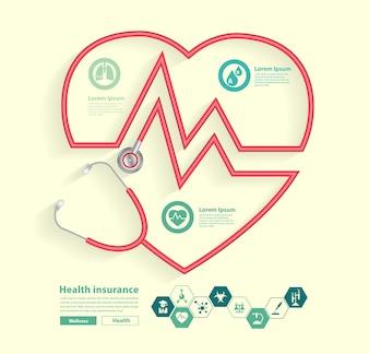 Czerwony stetoskop w kształcie serca z nauki ikon