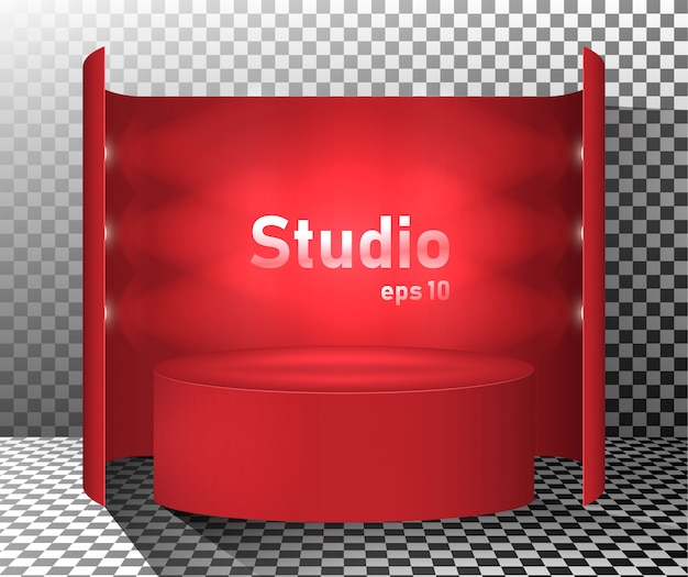Czerwony stół studio oświetlone latarniami. wolne miejsce na prezentację produktu.