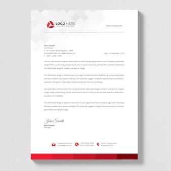 Czerwony streszczenie list szef wektor wzór.