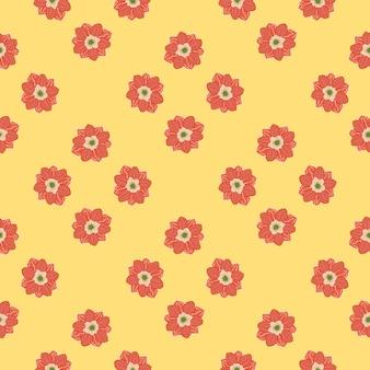 Czerwony streszczenie proste kwiaty zawilec bezszwowe doodle wzór.