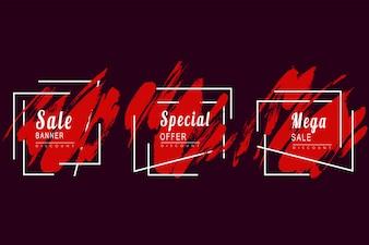 Czerwony streszczenie transparent sprzedaży akwarela