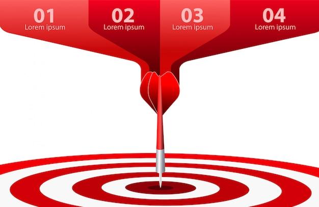 Czerwony strzałka cel. koncepcja sukcesu w biznesie. ilustracja kreatywny pomysł na białym tle