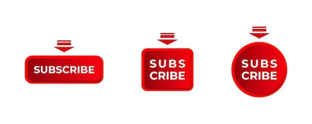 Czerwony subskrybuj przycisk youtube projekt zestaw ikona subskrypcji płaski