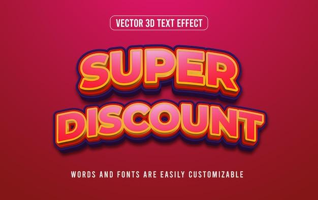 Czerwony super rabat 3d edytowalny efekt tekstowy