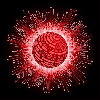 Czerwony świat cyber obwodu przyszłości technologii tło