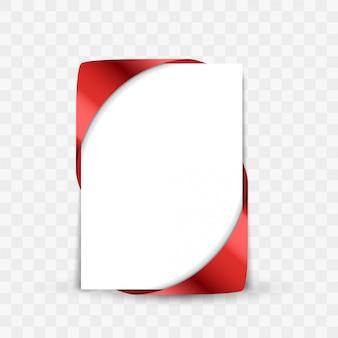 Czerwony świąteczny łuk wstążka rogu na białym tle papieru z cieniami
