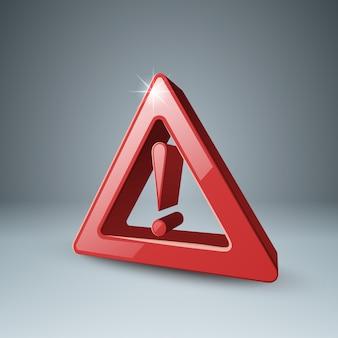 Czerwony symbol wykrzyknika 3d, uwaga, niebezpieczeństwo