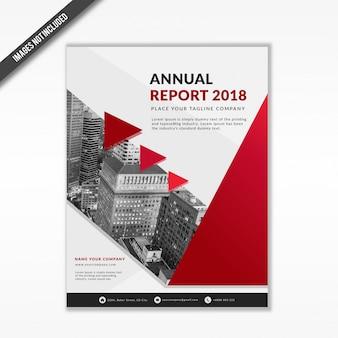 Czerwony szablon raportu rocznego firmy 2018