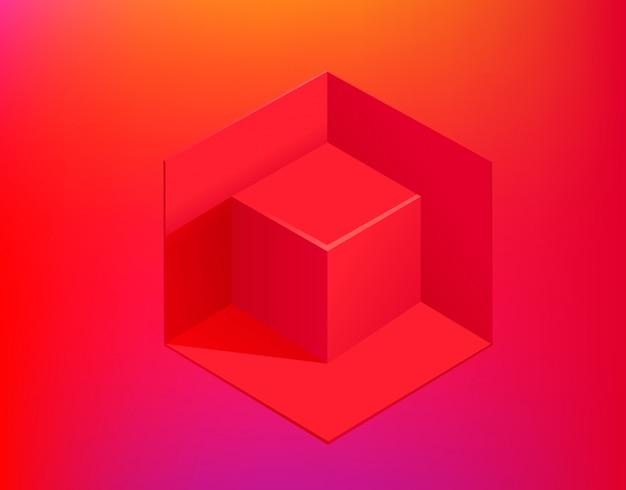 Czerwony sześcian na gradientowym tle. szablon strony internetowej