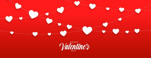 Czerwony sztandar dnia valentines z białymi sercami