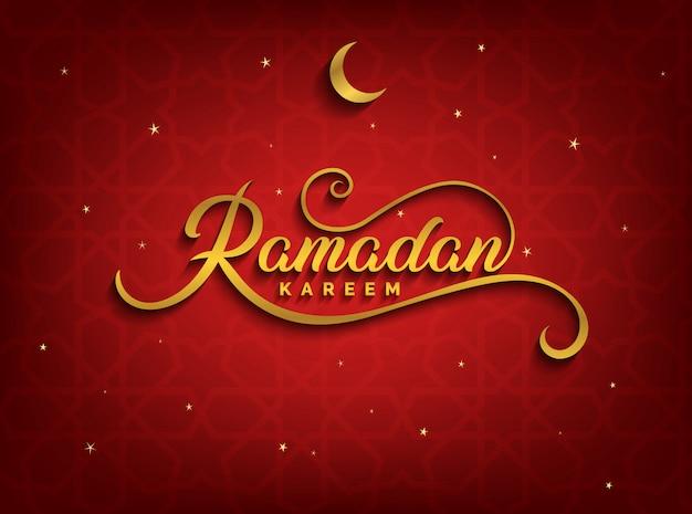Czerwony sztandar ramadan kareem, tło ze złotym półksiężycem i gwiazdami