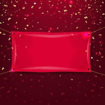 Czerwony sztandar z ciemnym czerwonym tłem