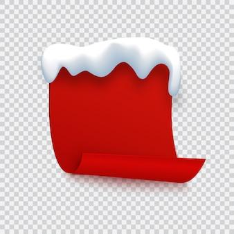 Czerwony sztandar z czapką śnieżną