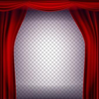 Czerwony teatr kurtyna wektor. przezroczyste tło na koncert, imprezę, teatr, szablon tańca. realistyczna ilustracja