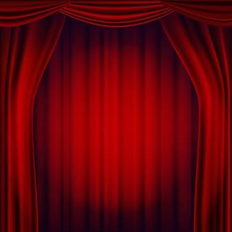 Czerwony teatr kurtyna wektor. scena teatralna, operowa lub kinowa. realistyczna ilustracja