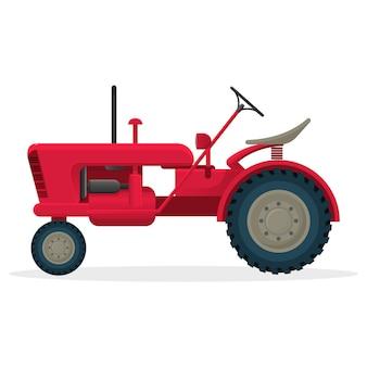 Czerwony traktor rolniczy na ogromnych kołach do prac polowych. wiejskie maszyny do zbioru plonów. pojazd przemysłowy na białym tle realistyczne mieszkanie.