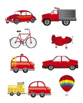 Czerwony transport izolowanych na białym tle ilustracji wektorowych