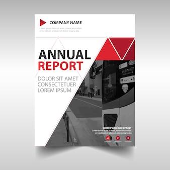 Czerwony trójkąt kreatywny roczny raport szablon okładki książki