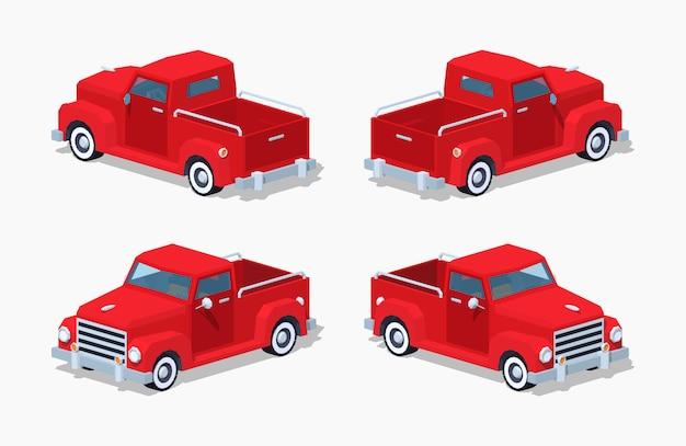 Czerwony trójwymiarowy izometryczny pickup retro 3d