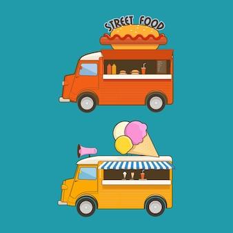 Czerwony uliczny food truck i żółta furgonetka z lodami