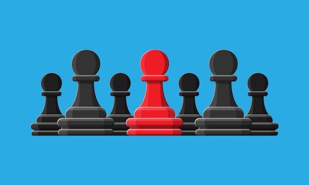 Czerwony, unikalny pionek szachowy stojący. różnorodność ludzka, wyjątkowość i indywidualność. pojęcie różnicy. ilustracja w stylu płaski