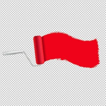 Czerwony wałek do malowania i malować obrysu przezroczyste tło