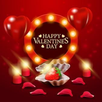 Czerwony walentynki kartkę z życzeniami z perłą muszli z truskawkami w środku