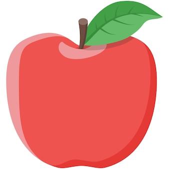 Czerwony wektor jabłko na białym tle ikona owoców z zielonym liściem