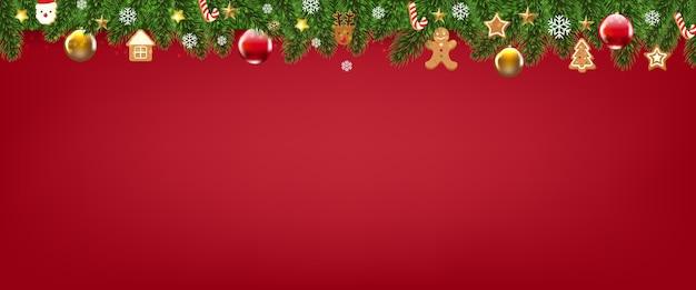 Czerwony wesołych świąt bożego narodzenia z granicą