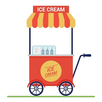 Czerwony wózek z lodami na ulicy. mały biznes.