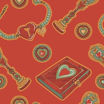 Czerwony wzór bez szwu. nabiał i woskowa pieczęć i bransoletka w stylu retro szkicu