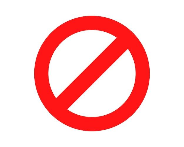 Czerwony zakazany znak brak ikony ostrzeżenia lub symbolu stopu bezpieczeństwa niebezpieczeństwo na białym tle ilustracji wektorowych