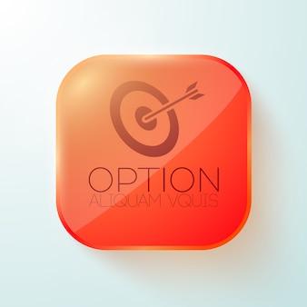 Czerwony zaokrąglony kwadratowy przycisk z celem