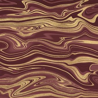Czerwony ze złotym brokatem wzór malowania tuszem. streszczenie płynne tekstury akwarela.