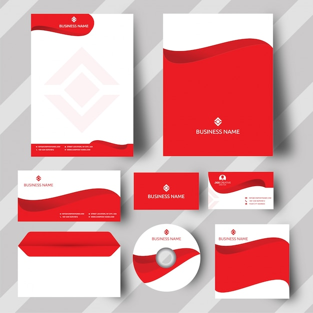 Czerwony zestaw tożsamości korporacyjnej