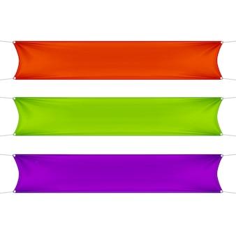 Czerwony, zielony i fioletowy puste puste poziome prostokątne banery zestaw z linami narożnymi.