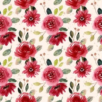 Czerwony zielony kwiat ogród akwarela bezszwowe wzór