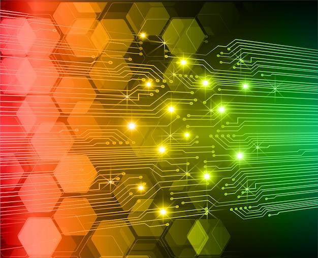 Czerwony zielony obwód cyber przyszłości technologii koncepcja tło