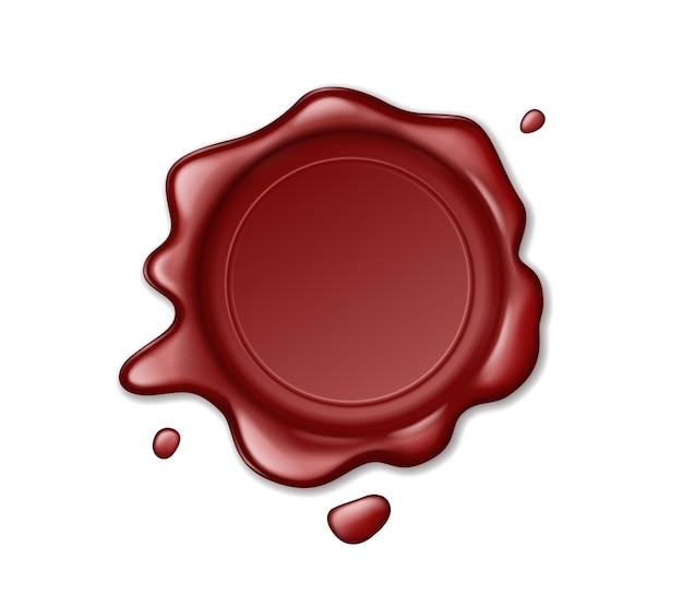 Czerwony znaczek woskowej pieczęci znak zatwierdzenia, pieczęć retro etykiety na białym tle. gwarancja jakości