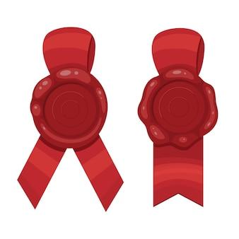 Czerwony znaczek wstążki ilustracja na białym tle. woskowa pieczęć ze wstążką.
