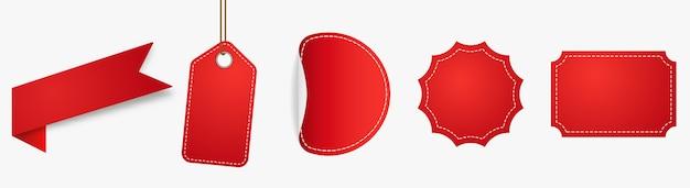 Czerwony znacznik ceny etykieta promocyjna