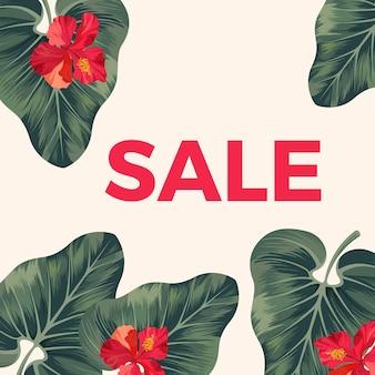 Czerwony znak sprzedaży na plakacie promocyjnym z liśćmi i kwiatami