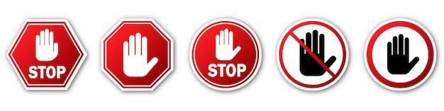 Czerwony znak stop na białym tle. zatrzymaj znaki ręki