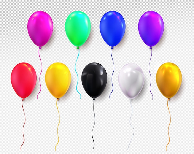 Czerwony, żółty, niebieski, zielony, czarny, biały i błyszczący złoty balon